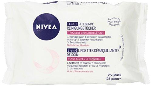 NIVEA 3-in-1 Pflegende Reinigungstücher für trockene und sensible Haut, 25 Stück