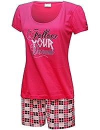 c9a764b659 Schlafanzug Kurz Damen Pyjama Kurzarm Damen Nachthemd Kurzer aus 100%  Baumwolle softweich Gr. S M L