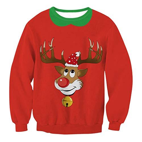 WFTD Unisex Weihnachts-Sweatshirt, 3D-Druck Lässige Crew Nacken Sport Lange Ärmel T-Shirt, Cartoon-Rentier Muster, Rot,XL - ärmel Lange Cartoon T-shirts