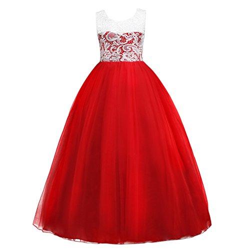 Ibtom castle abito bambina principessa vestito da cerimonia per la damigella floreale matrimonio carnevale tutu compleanno bambina festa sera rosso 15-16 anni