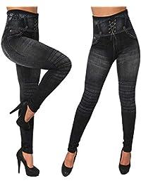 SANFASHION Leggings Slim Cowboy Imitation,Soldes d automne et d hiver  Pantalon Cotton d2012f8ac6fd