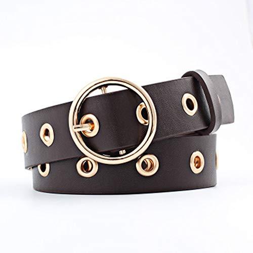 Personalisierte runde Schnalle Breiten Gürtel PU Damen dekorative Gürtel Mode Hipster Casual Gürtel für Indoor-und Outdoor-Bekleidung Geeignet für alle Arten von Kleidung (Farbe : Lila)