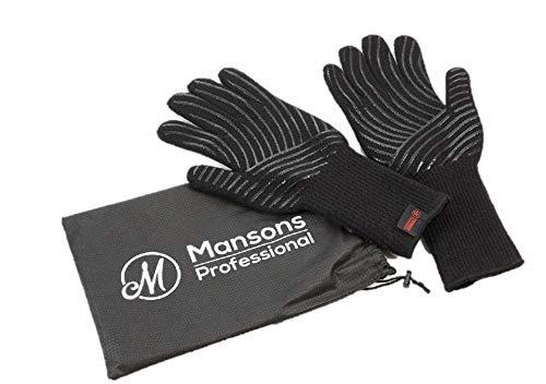41UmEhspMJL - Mansons Ofenhandschuhe hitzebeständig bis zu 500 Grad I 36cm Extra Lang I | Profi Grillhandschuhe als ideales Grill Zubehör