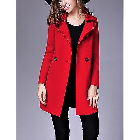 Da Wu Jia señoras cubra la mujer/Diario Casual Vintage Coat,Solid Peter Pan Collar de Invierno de manga larga rosa / poliéster rojo mediano , m