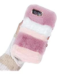 "iPhone 7 Plus / 8 Plus Faux Rabbit Hair Phone Case, Vandot Soft TPU Silicona Plush Fluffy Artificial Fur Protective Case Cover Handmade Villi Fur Felpa Suave Cálido Mullido Peluda Funda para iPhone 7 Plus / 8 Plus 5.5"", Rayas Rosa Blanco"