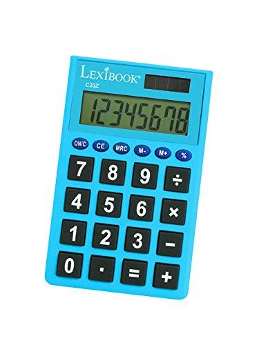 LEXIBOOK C23Z - Calcolatrice con Schermo a 8 Cifre, 4 Operazioni, Funzioni Tradizionali e avanzate, Scuola elementare, Colori Assortiti (Rosa/Blu/Verde/Nero)