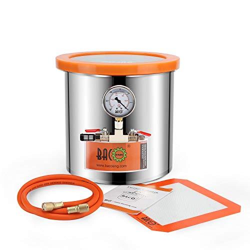 BACOENG 12 Liter Edelstahl Vakuumkammer mit Deckel aus gehärtetem Glas, ideal zur Stabilisierung von Holz, Entgasung von Silikonen