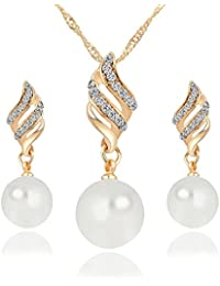 Bling N Beads Pearl Pendant 18K Gold Plated Necklace Set With Earrings Gift For Her
