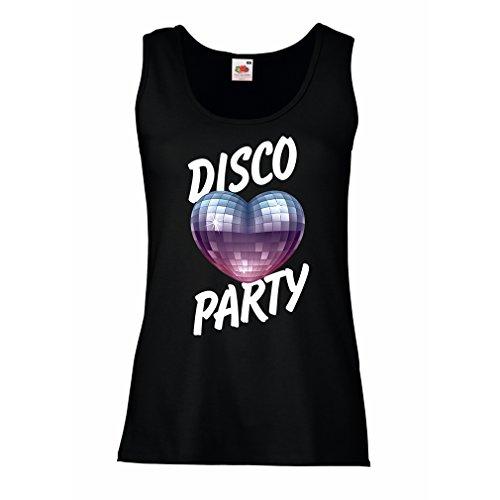 Serbatoio,Maglietta senza maniche femminile discoteca, per gli amanti della musica Nero Multicolore