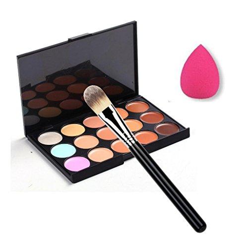 Susenstone Pinceau de Maquillage, Palette Correcteur Couleur 15 + Éponge Puff Maquillage Palette Contour