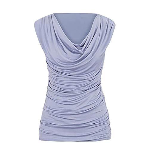 Yvelands Damen beiläufiger Rundhalsausschnitt-Pullover-Sleeveless dünnes abnehmendes T-Shirt übersteigt Bluse(CN-2XL,LightRosa)
