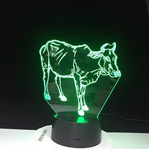 Farbwechsel 3D Birne Licht Büffel Kuh Illusion LED Licht Kreatives Tier Charakter Spielzeug 2 Kein Controller