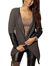 Imixcity® Women Long Sleeve Blazers PU Patchwork Stretchy Knitted Waterfall Poncho Coat Tops Casual Irregular Cardigan
