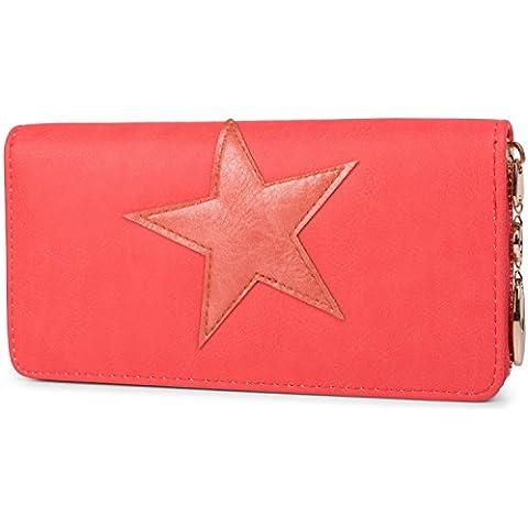 styleBREAKER monedero con aplicación de estrellas cosidas, cremallera circular, mujeres 02040041
