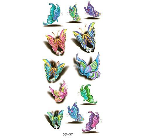 Ruofengpuzi impermeabile modello temporary body art tattoo impermeabile tatuaggio temporaneo 3d colorata farfalla maniche body art lip sticker fai da te