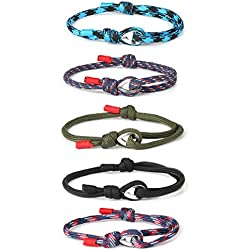 sailimue 5 Pcs Nautique Corde Bracelets pour Homme Femme Bracelets Tresse Ensemble Marin Surf Bracelet Réglables