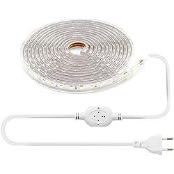 LEBRIGHT 5M(16ft) LED-Streifen-Licht 60 LEDs/M SMD 5050 6000K, 230V IP68 Wasserdichter Lichtstreifen für Hausgarten, Dekoration (5m, kühles Weiß)