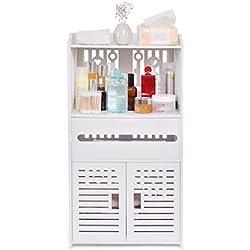 aimu - Armarios de Baño Impermeables de 2 Puertas, Muebles para Baño y Inodoro, Color Blanco
