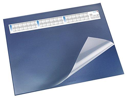 Läufer 44655 Durella DS Schreibtischunterlage mit transparenter Auflage und Kalender, 52 x 65 cm, rutschfest, blau