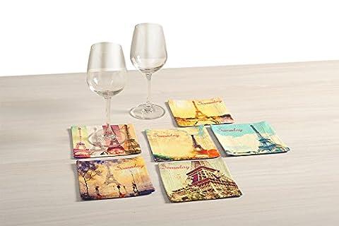 Impression numérique Toile en pur coton Lot de 6boissons et boissons Dessous-de-verre carré 12,7x 12,7cm, tour Eiffel, Cos-103