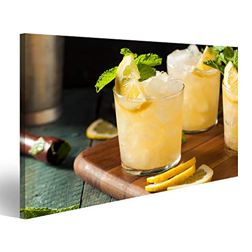 islandburner Bild auf Acrylglas Selbst gemachter Boozy Bourbon Whisky Smash mit Zitrone und Minze Wandbild Acrylglasbild Glasbild ULJ