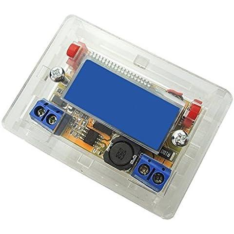 uniquegoods 4,75–20V a 0–16,5V DC-DC Step Down Fuente de alimentación Regulador de voltaje variable convertir voltios Transformador estabilizador de voltaje amperímetro voltímetro Volt Amp ajustable con módulo pantalla LCD con Caso de vivienda
