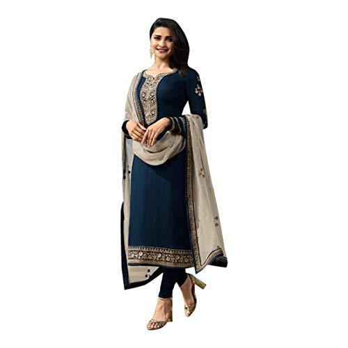 SHRI BALAJI SILK & COTTON SAREE EMPORIUM Navy Blue Seiden-Georgette-Churidar-Salwar-Anzug mit bedrucktem Dupatta für Damen-Indianer-Designerparty-Bekleidung 7701 -