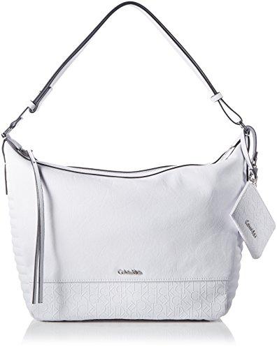 Calvin Klein Jeans Damen Maddie Plus HOBO Tasche, Weiß (White 101), 30x30x14 cm -