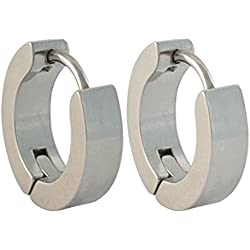 JaisBoy Silver Stainless Steel Round Hoop Earring For Men And Boy