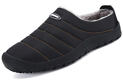 katliu Warm Gefüttert Hausschuhe Für Herren Damen Pantoffeln Plüsch Rutschfeste Winterschuhe,Schwarz 39