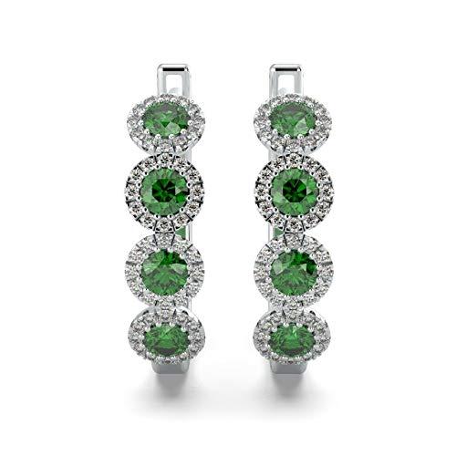 Orecchini a cerchio in oro bianco con smeraldo e diamanti, taglio diamante 0,75 ct, 2,5 g circa e Oro bianco, cod. E1241.1
