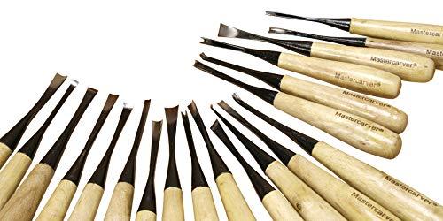 20mastercarver Detail Holz Werkzeuge Set w/Leinwand Rolle 401005 (Fishtail Carving-werkzeuge)