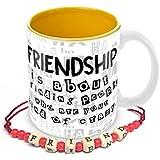 Tuelip Friendship Quotes Minions Printed Mug With Free Friendship Band For Tea And Coffee 350 ML Ceramic Printed Mug