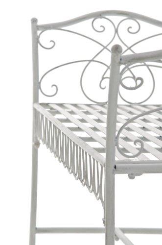 CLP Gartenbank SHERAB im Landhausstil, aus lackiertem Eisen, 125 x 43 cm (aus bis zu 6 Farben wählen) antik weiß - 5