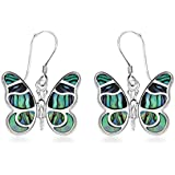 Tuscany Silver Sterling Silver Pave Shell Butterfly Drop Earrings