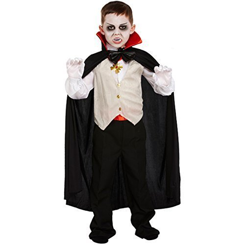 Dracula Kostüm Kinder - Dracula Vampir-Kostüm für Kinder - Halloween-Kostüm - Größe L