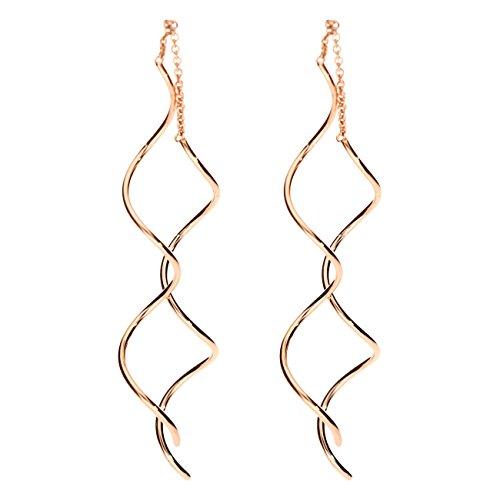 MYA art Damen Ohrringe Durchzieher Ohrhänger zum Durchziehen Spirale Edelstahl Rosegold Vergoldet Rose Gold Lang Hängend MYARGOHR-35