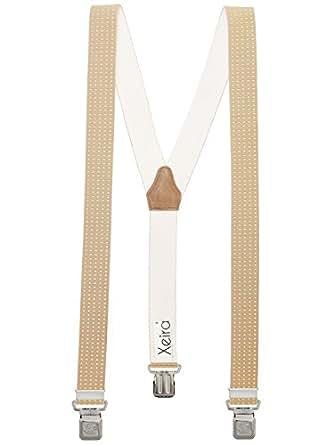 Bretelles de haute qualité pour Femmes / Homme avec 3 Extra fort clips dans 15 Couleurs - Fabriqué en Allemagne - avec XL Aigle CLIP (Beige Point)
