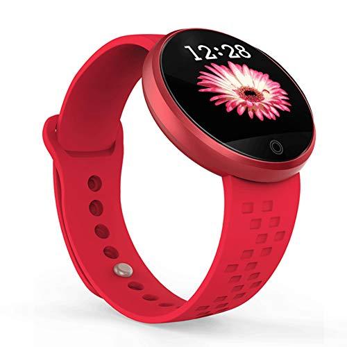 Eribell7 - Smartwatch da donna, con cardiofrequenzimetro, touch screen regolabile con 24 ore di cardiofrequenzimetro, pressione sanguigna, impermeabile IP68, red