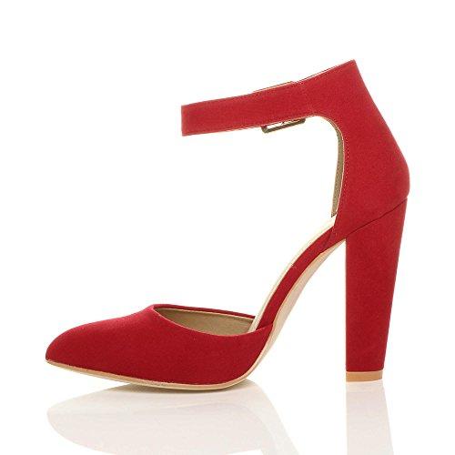Donna tacco alto blocco cinturino caviglia fibbia punta décolleté scarpe taglia Rosso scamosciata