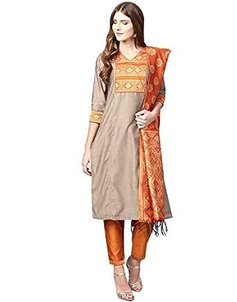 Jaipur Kurti Women's silk straight Kurta (JKPAT3495-XS_ Beige_ X-Small)