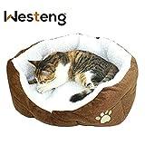 Westeng Panier rond ou ovale en polaire pour petit chien ou chat