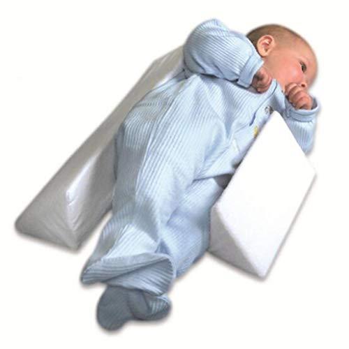 XGLL Oreiller de Sommeil pour bébé côté Nouveau-né, Tête Anti-polarité,Lait Lavable et Anti-crachats - Coussin d'allaitement pour Enfant en sécurité déhoussable et Lavable,White