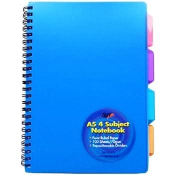 1 x Bleu-A5-Reliure à spirales-PVC-couverts projet de note