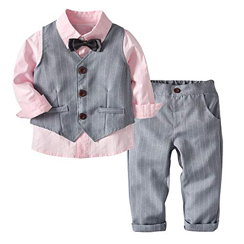 bobo4818 Baby Taufe Hochzeit, Baby Jungen Gentleman Outfits Anzüge, Kleinkind Kurzarm Shirt + Trägerhose + Fliege Overalls Kleidung Set (rosa-110)