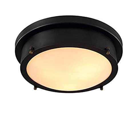 Salon Industrie Lampe Lumières Creative Noir Flat Lampe ronde simple Lamps Rétro Chambre éclairage plafonnier LED, 35cm