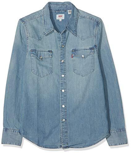 Levi's barstow western camicia in jeans, blu (red cast stone 0116), xx-small uomo