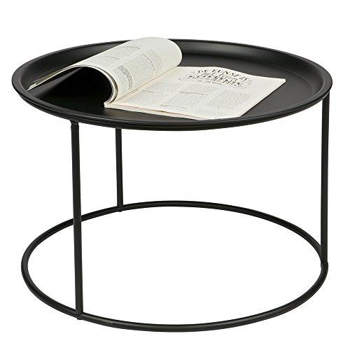 Beistelltisch Couchtisch IVAR Ø 56 cm Tisch Kaffeetisch Tablett Metall schwarz