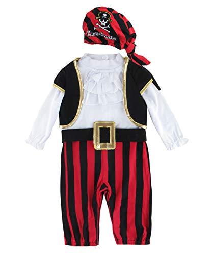 Jungen Piraten Baby Kostüm - MOMBEBE COSLAND Baby Jungen Pirat Kostüme Strampler (12-18 Monate, Rot)