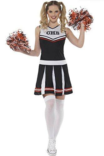 erleader Kostüm, schwarz, Small, UK 8–10 (Halloween Cheerleader-kostüme Uk)